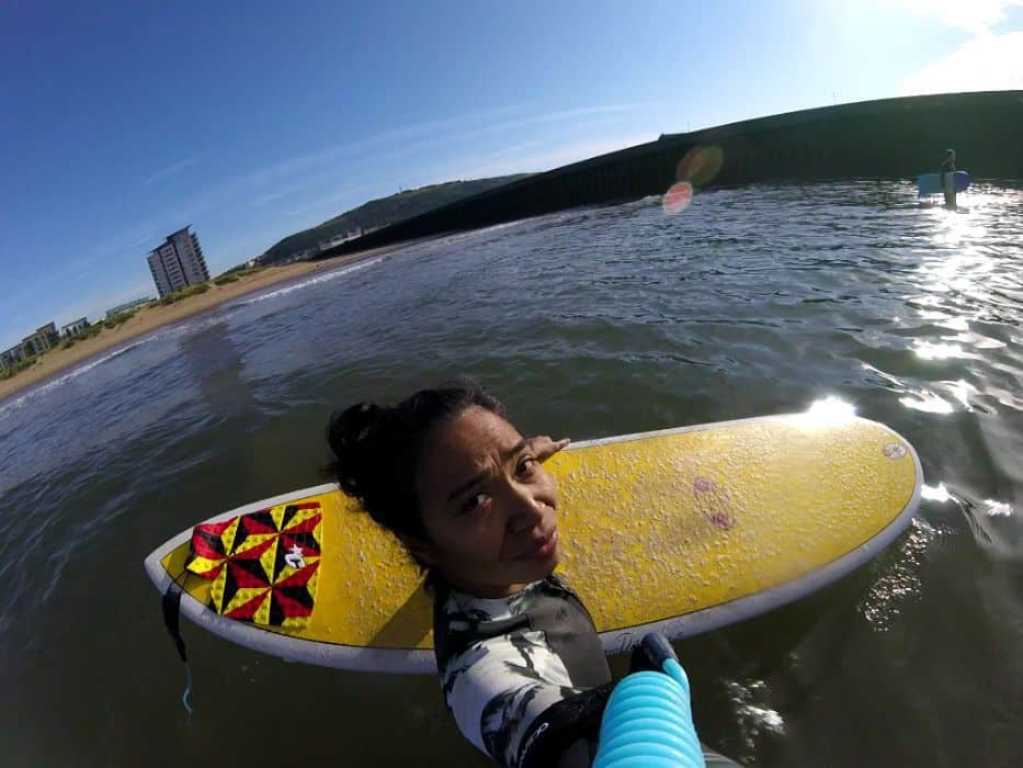 gopro shot of a rear traction pad on a surfboard