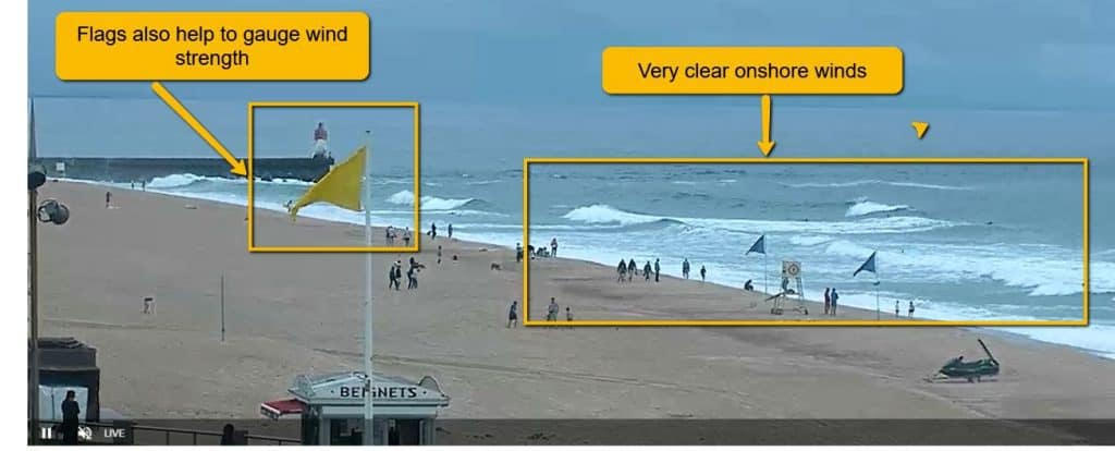 example of onshore winds from a surf webcam